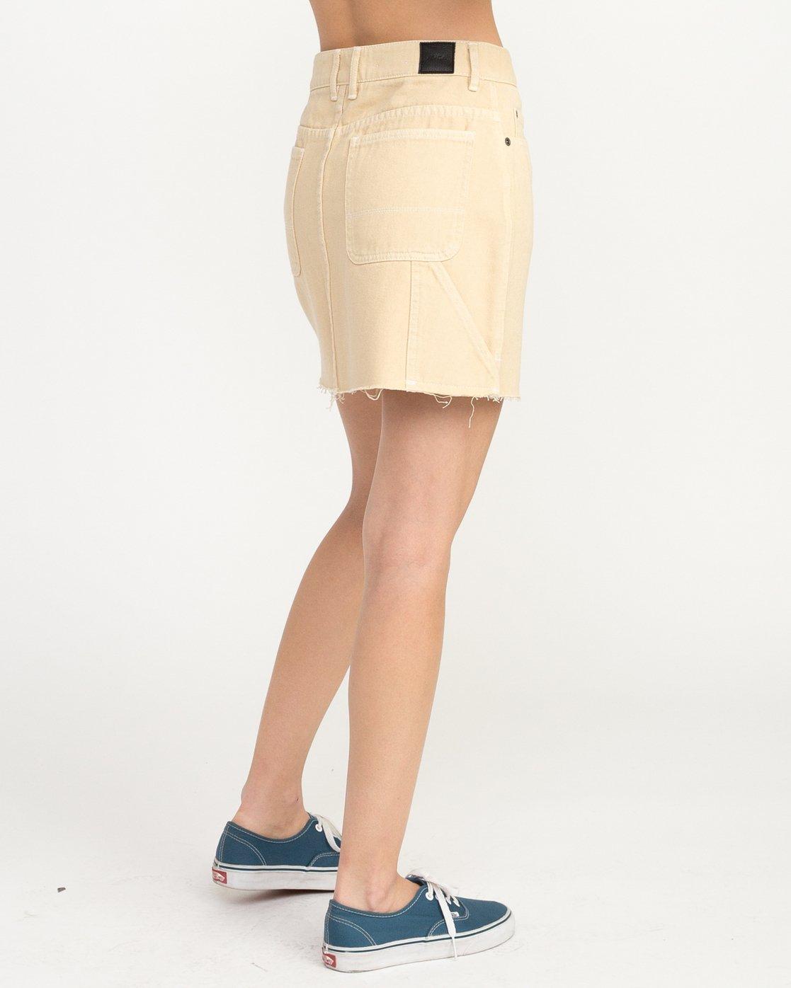 4 Hunn Neo Denim Mini Skirt Beige WK03QRNE RVCA