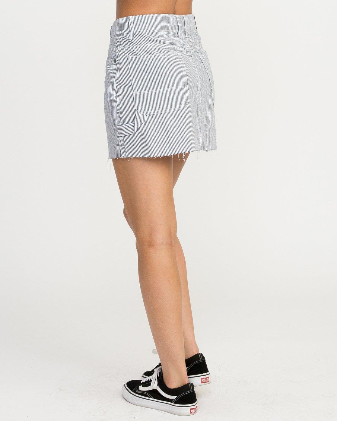 3 Hunn Striped Denim Mini Skirt Silver WK04QRHU RVCA