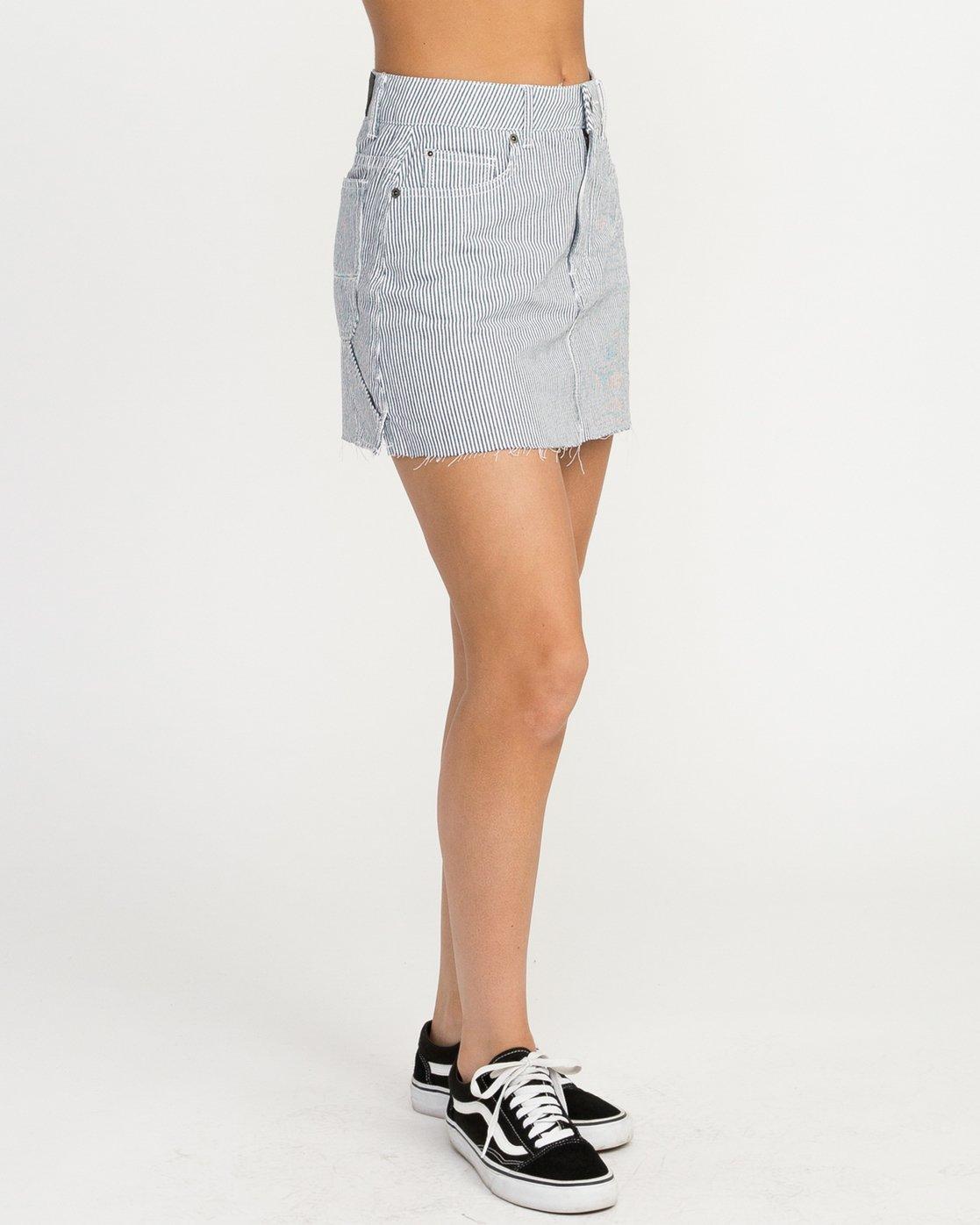 6 Hunn Striped Denim Mini Skirt Silver WK04QRHU RVCA
