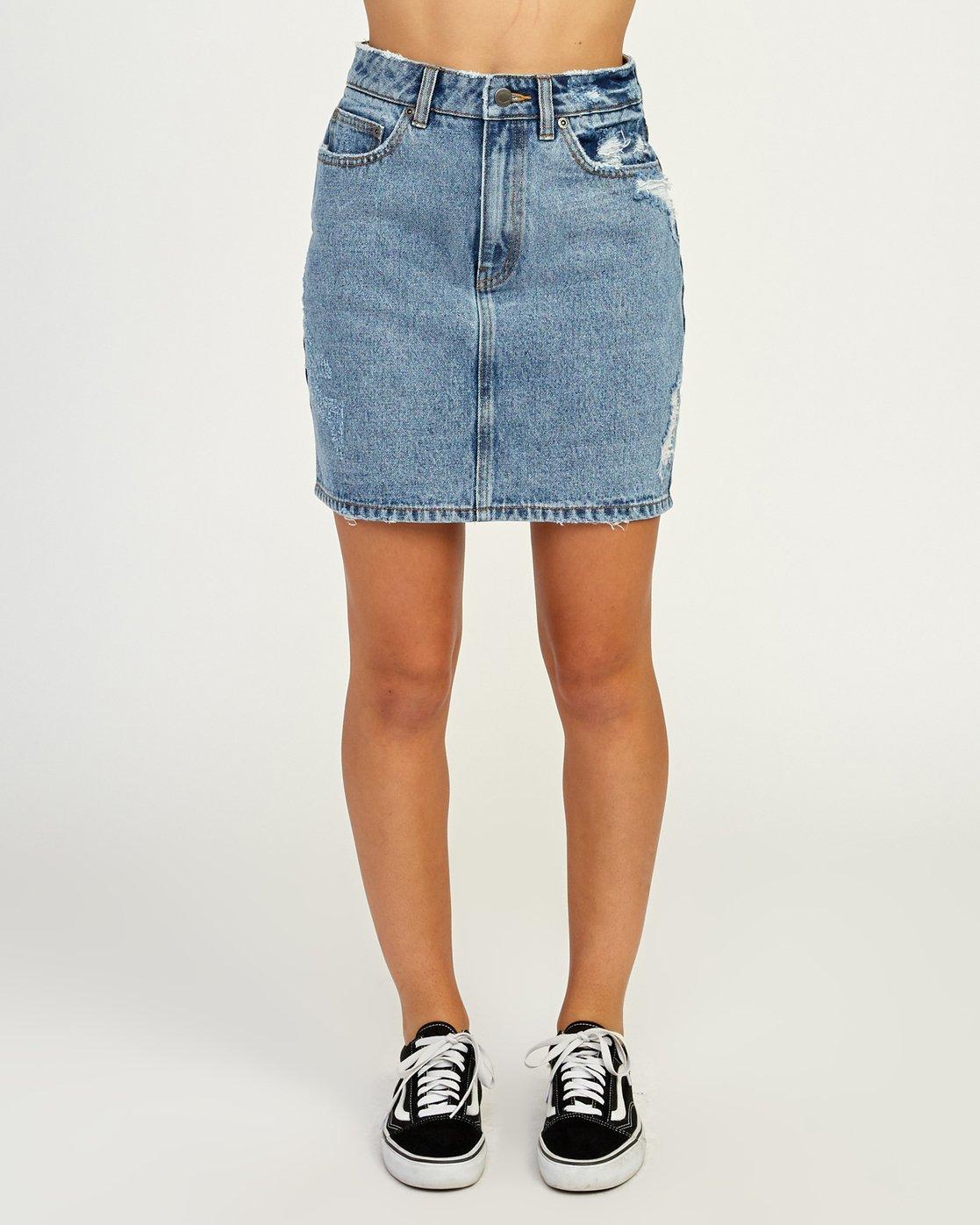 1 Jolt High Waist Denim Skirt Blue WK06QRJO RVCA