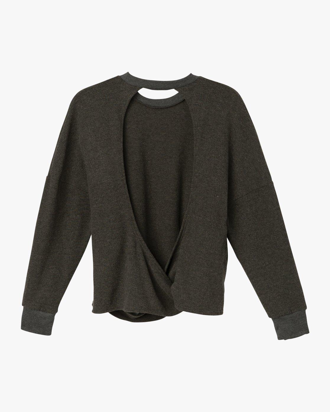 5 Kajsa Open Back Fleece Top Grey WL01SRKA RVCA