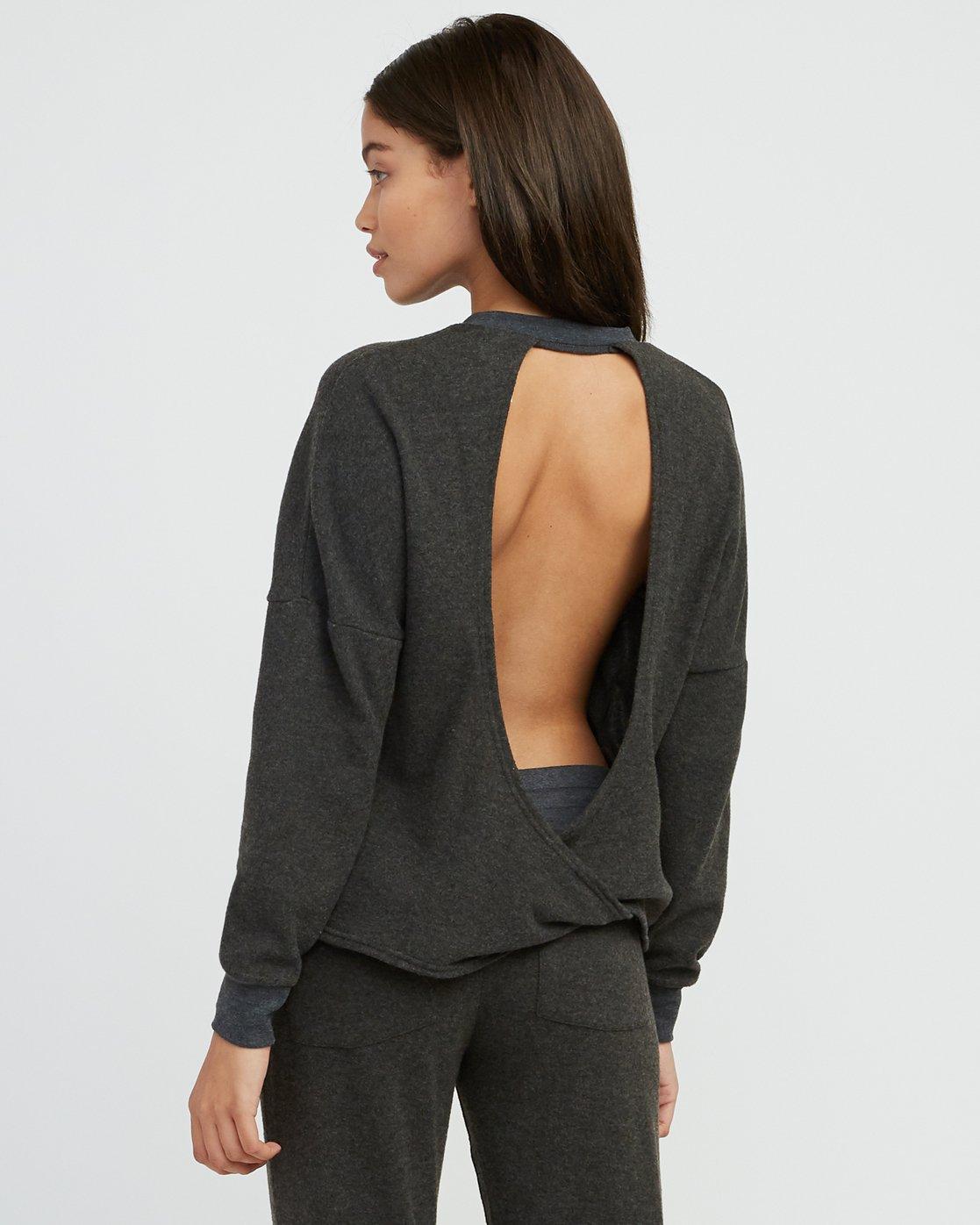 2 Kajsa Open Back Fleece Top Grey WL01SRKA RVCA