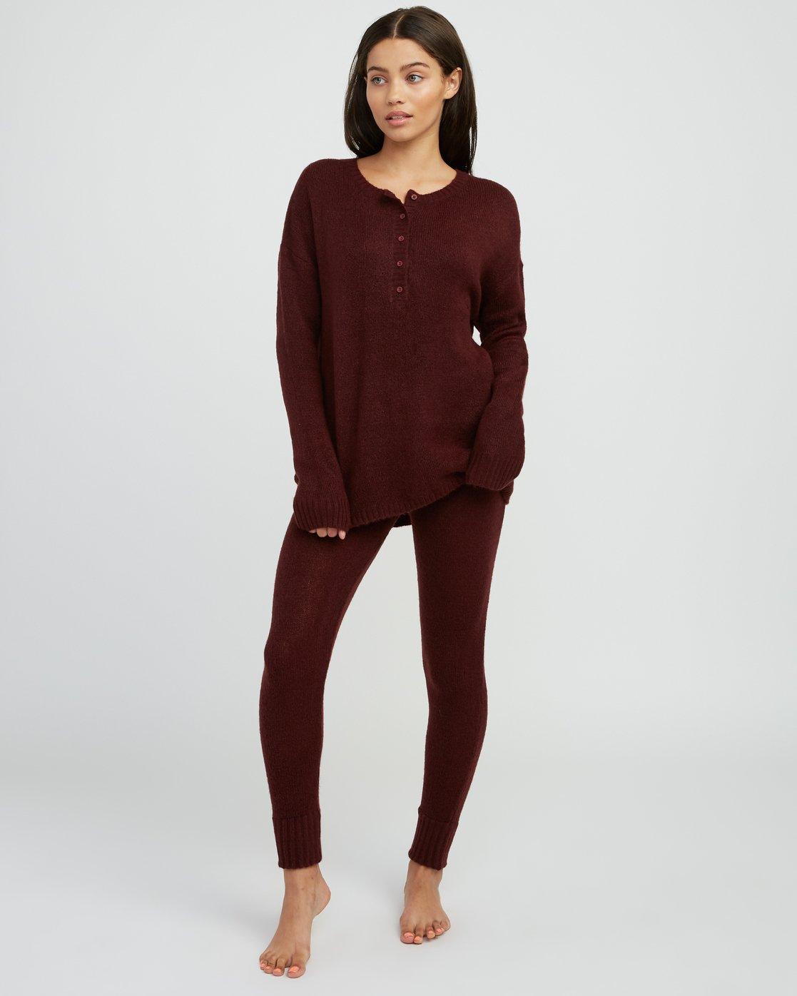 3 Urboyfriends Knit Henley Sweater Pink WL06SRUR RVCA