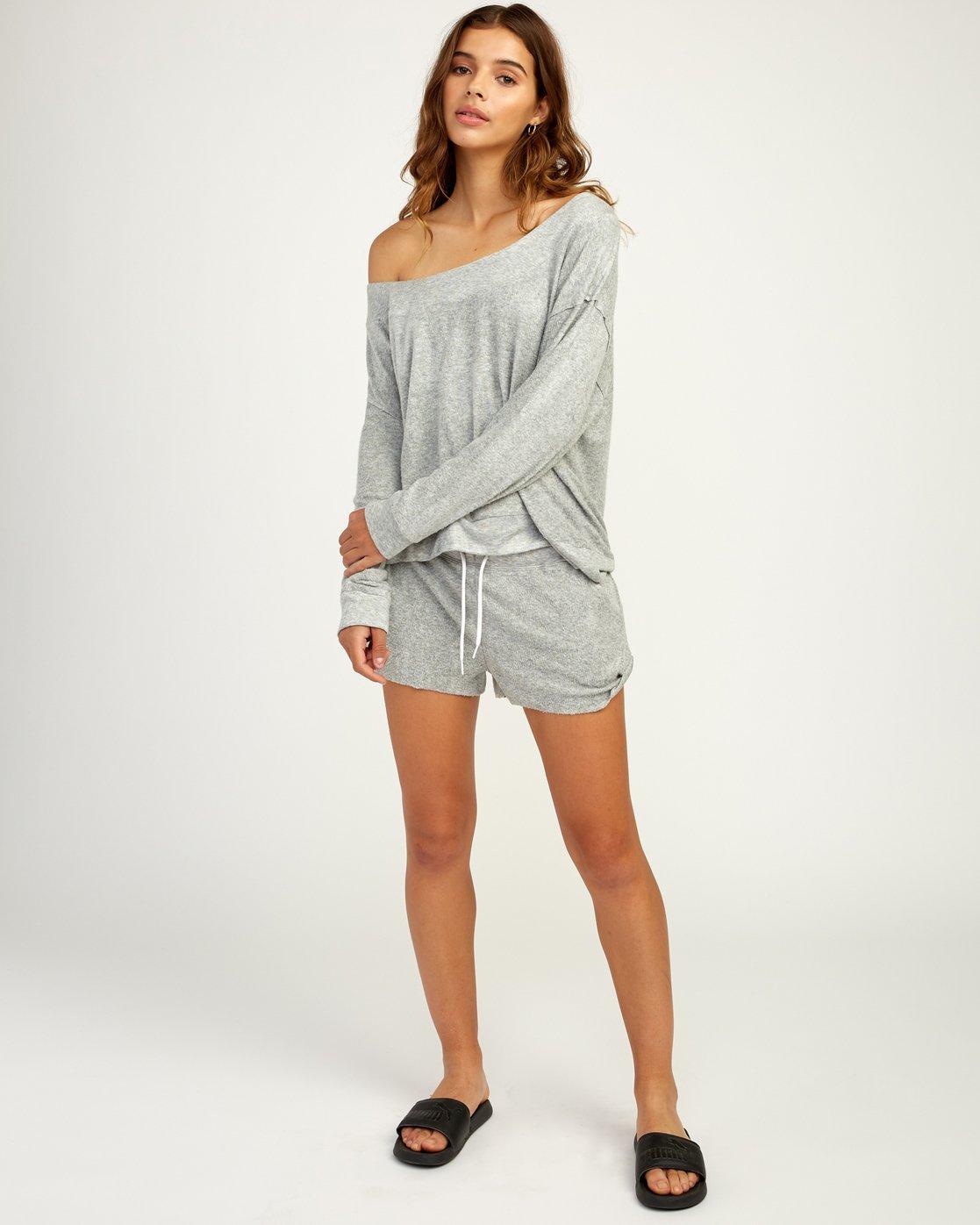 5 Whisper Fleece Pullover Top Grey WL09TRWP RVCA