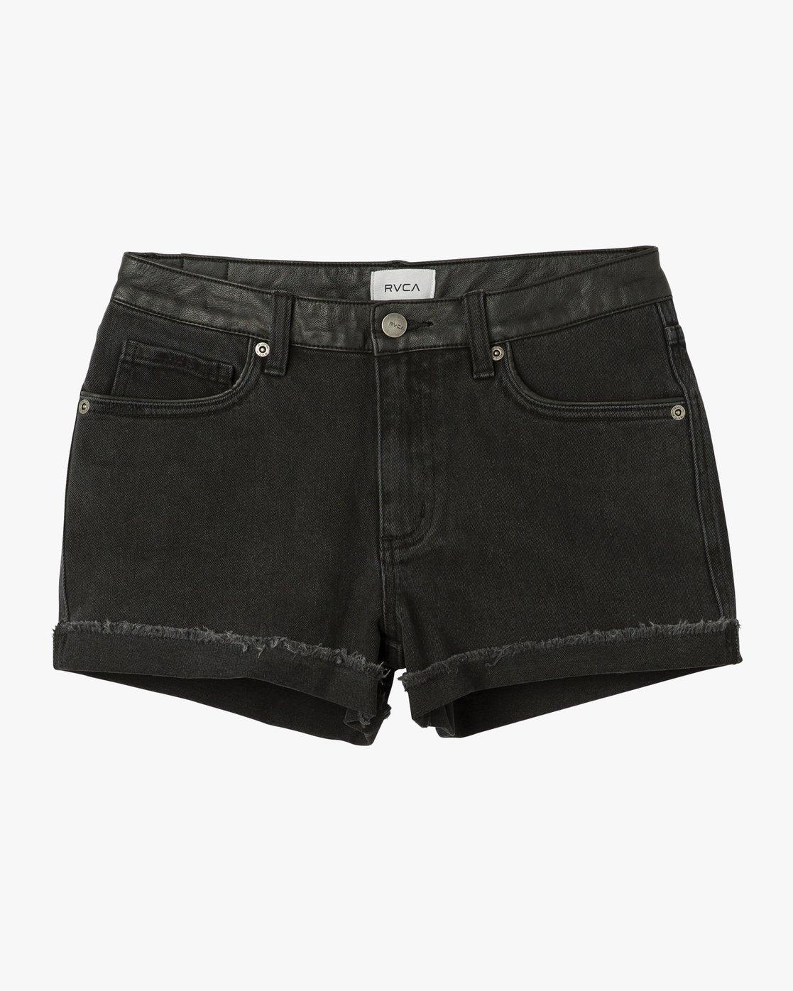 7 Wanderist II Mid Rise Denim Shorts Black WM201WAN RVCA