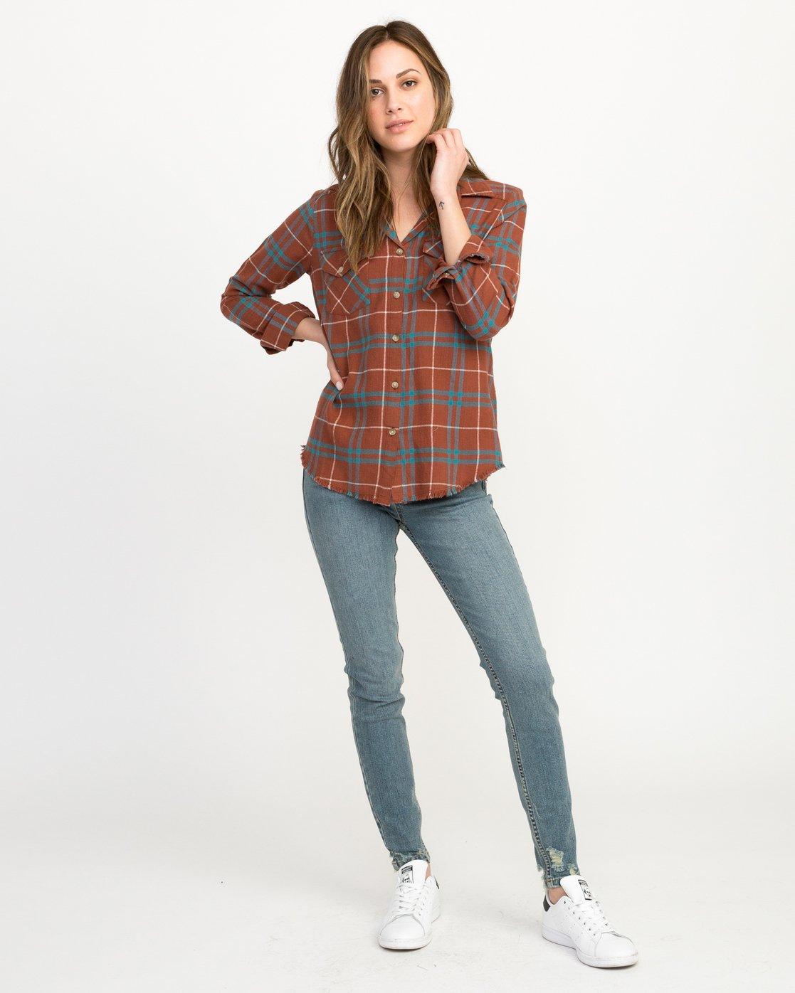 4 In A Haze Plaid Flannel Shirt Brown WM506INA RVCA