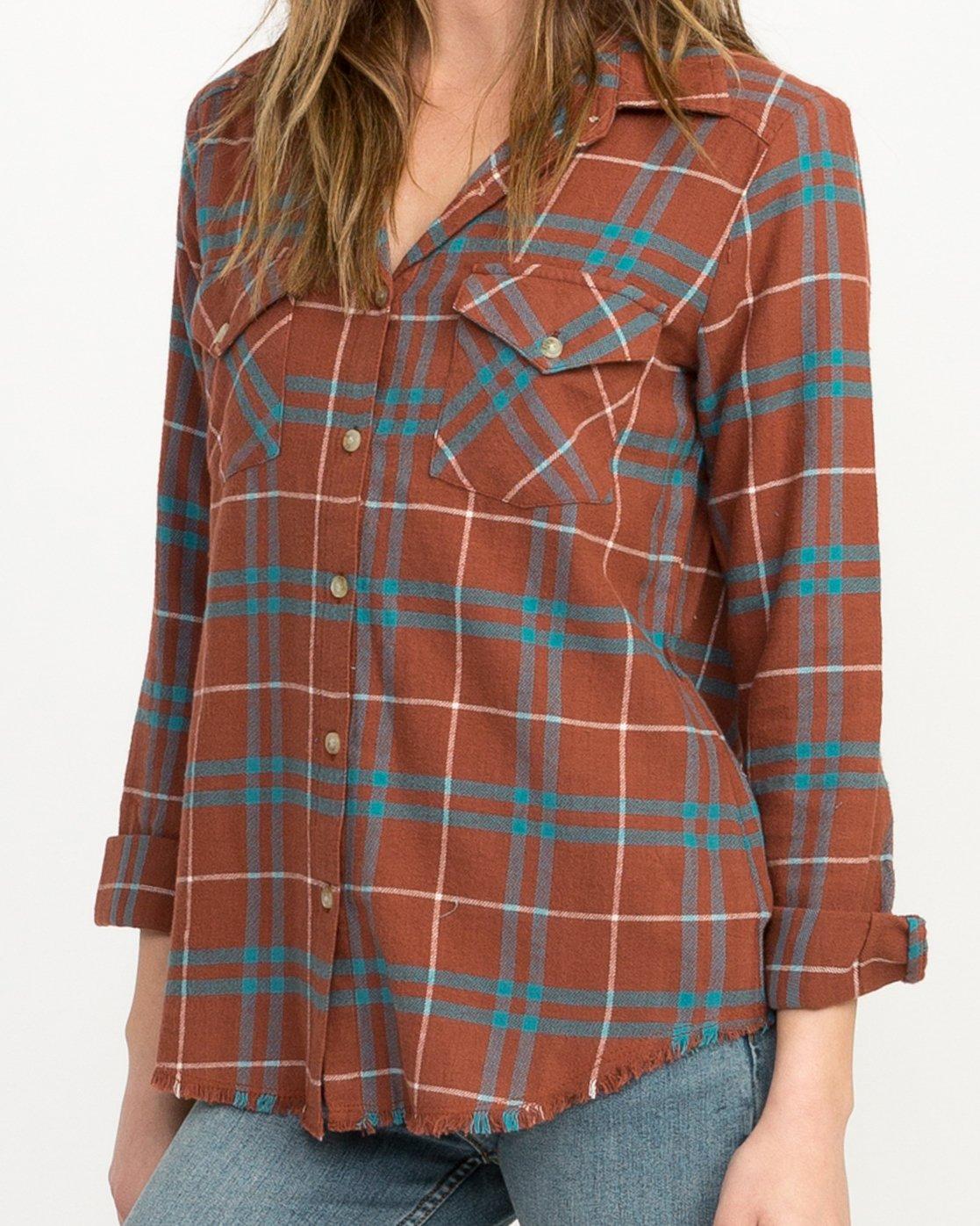 3 In A Haze Plaid Flannel Shirt Brown WM506INA RVCA