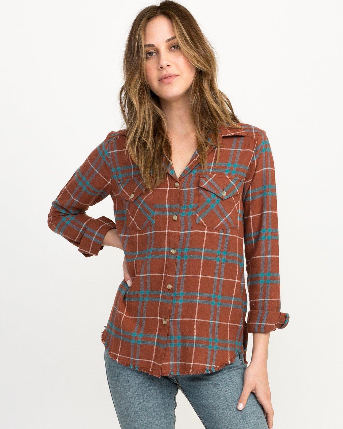 0 In A Haze Plaid Flannel Shirt Brown WM506INA RVCA