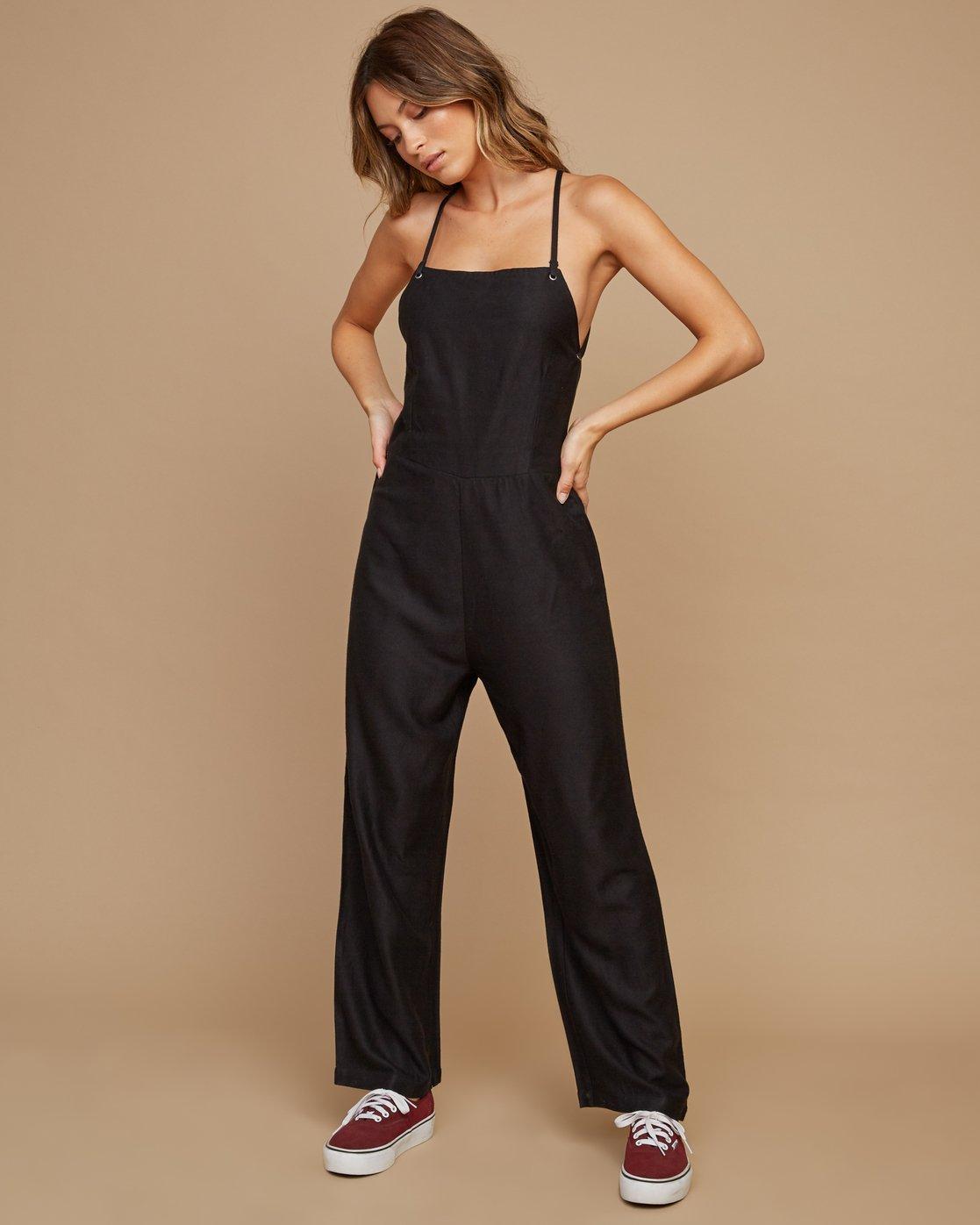 0 Free Fall Wide Leg Jumpsuit Black WN02SRFR RVCA