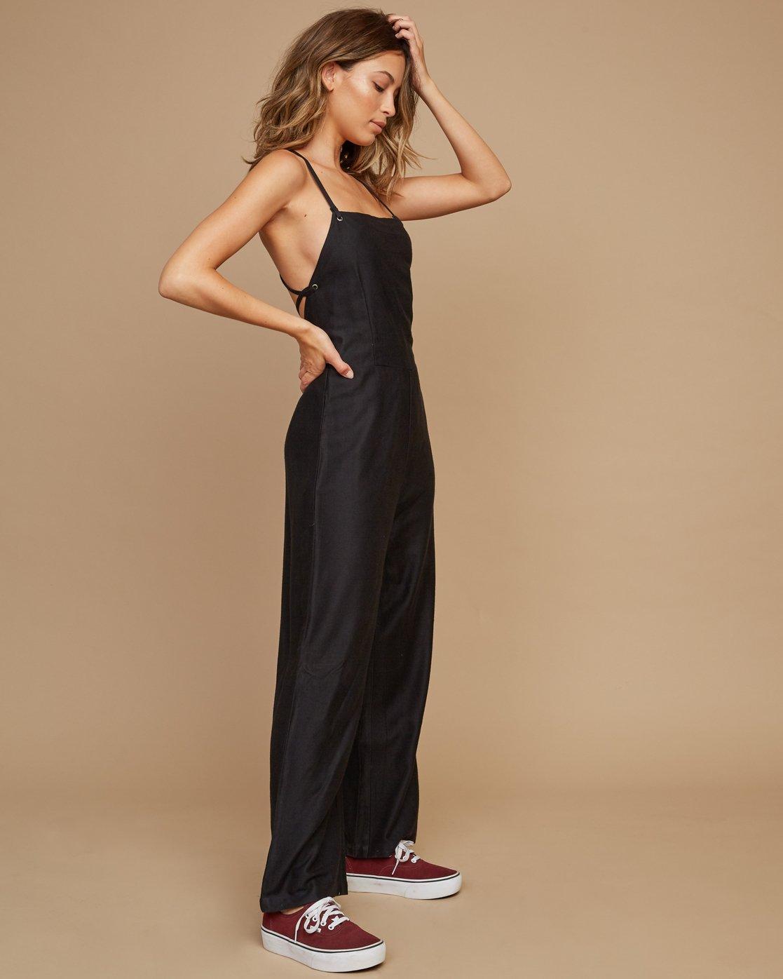 1 Free Fall Wide Leg Jumpsuit Black WN02SRFR RVCA