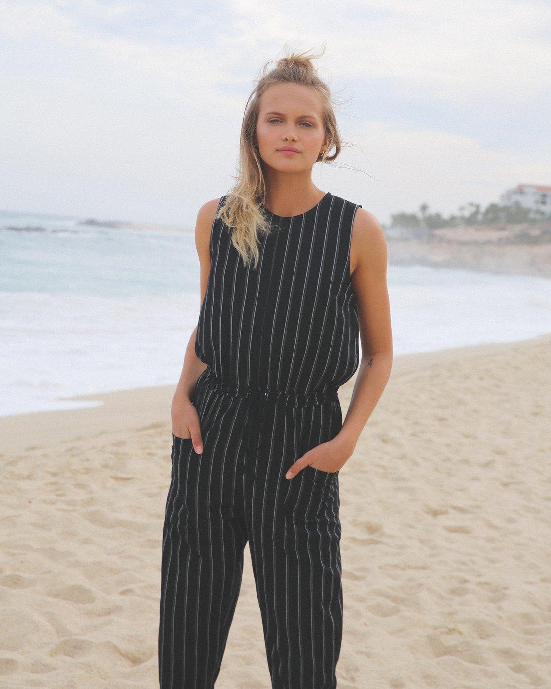 0 Pop Out Striped Jumpsuit Black WN05TRPO RVCA