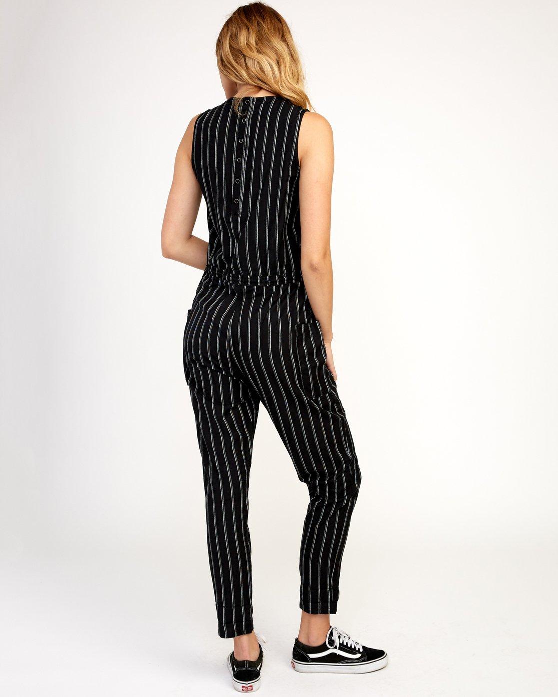 3 Pop Out Striped Jumpsuit Black WN05TRPO RVCA