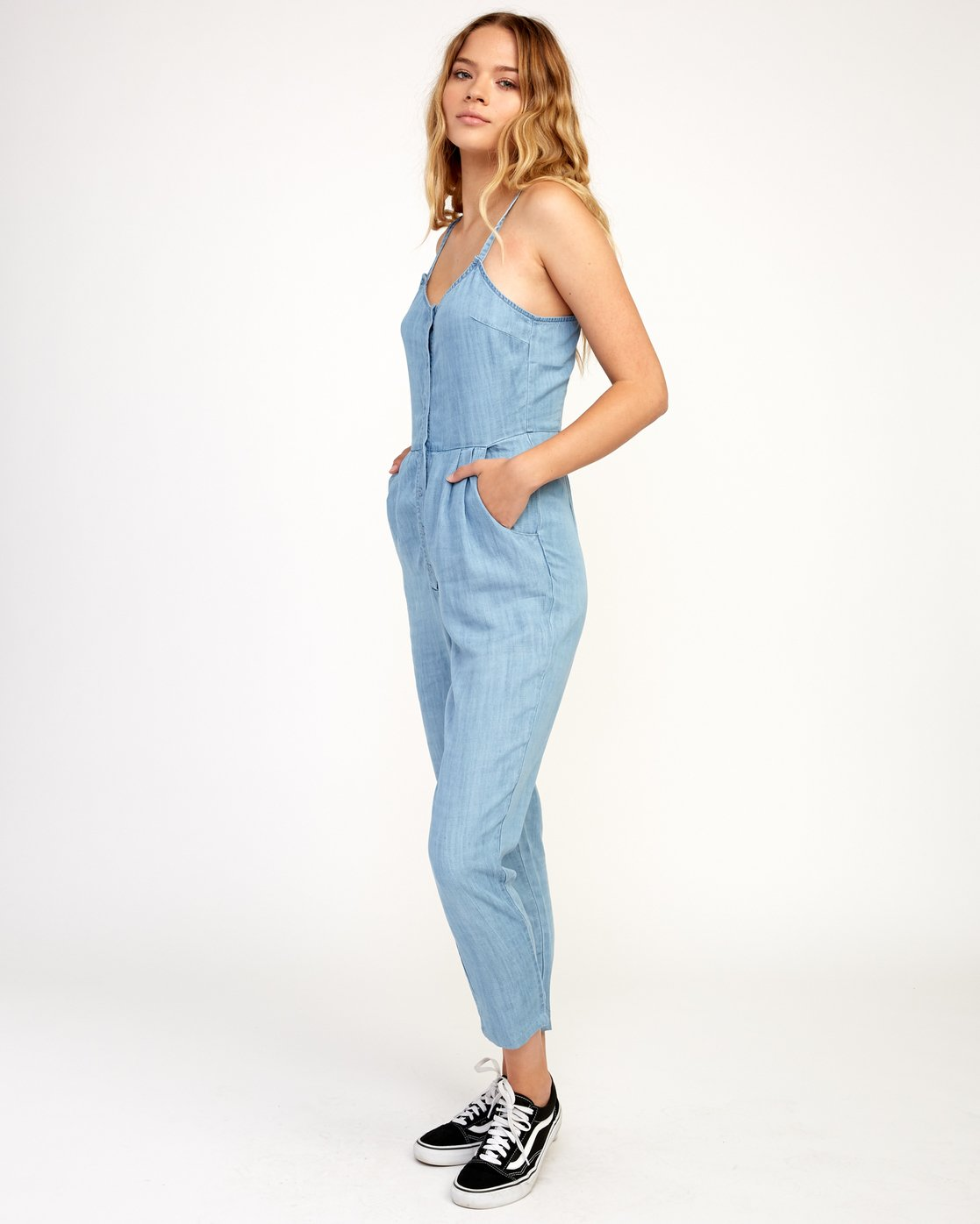 2 Flasher Chambray Jumpsuit Blue WN10TRFC RVCA