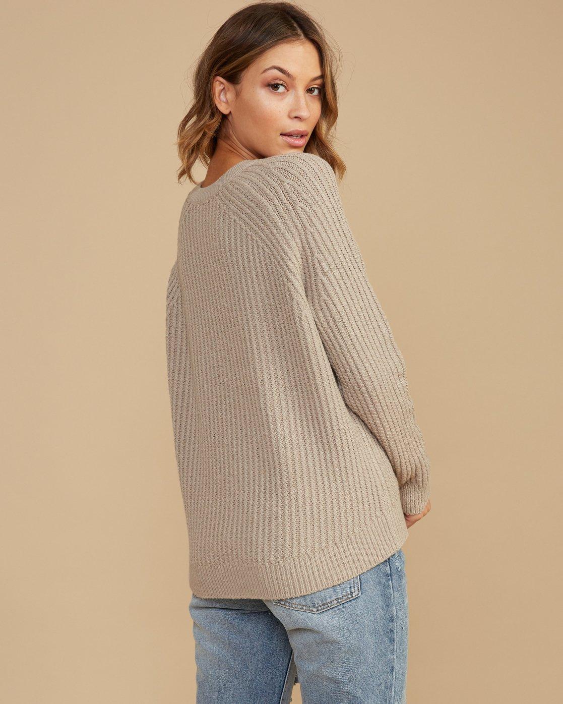 2 Case Knit Keyhole Sweater Beige WV02QRCA RVCA