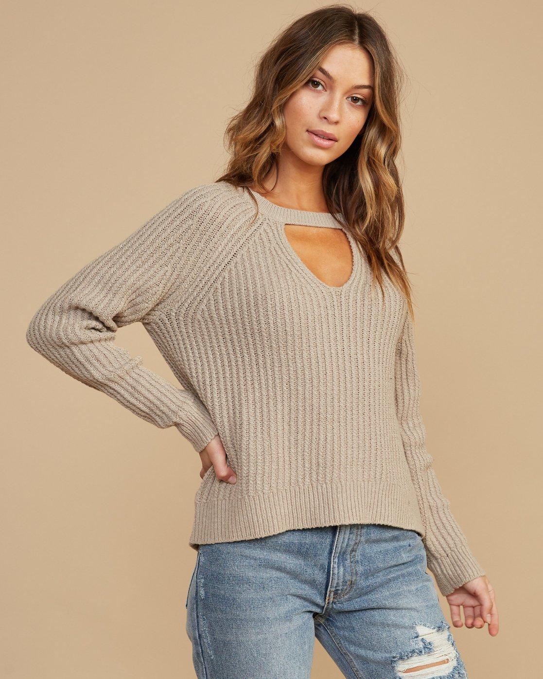 1 Case Knit Keyhole Sweater Beige WV02QRCA RVCA