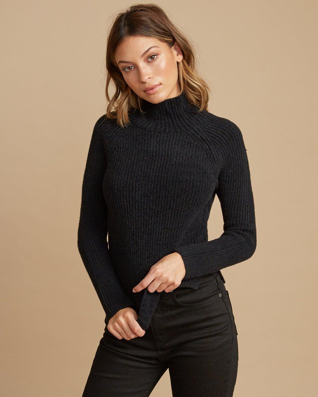 0 Oracle Ribbed Sweater Black WV02SROR RVCA