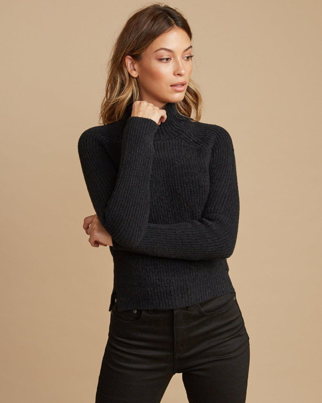 1 Oracle Ribbed Sweater Black WV02SROR RVCA