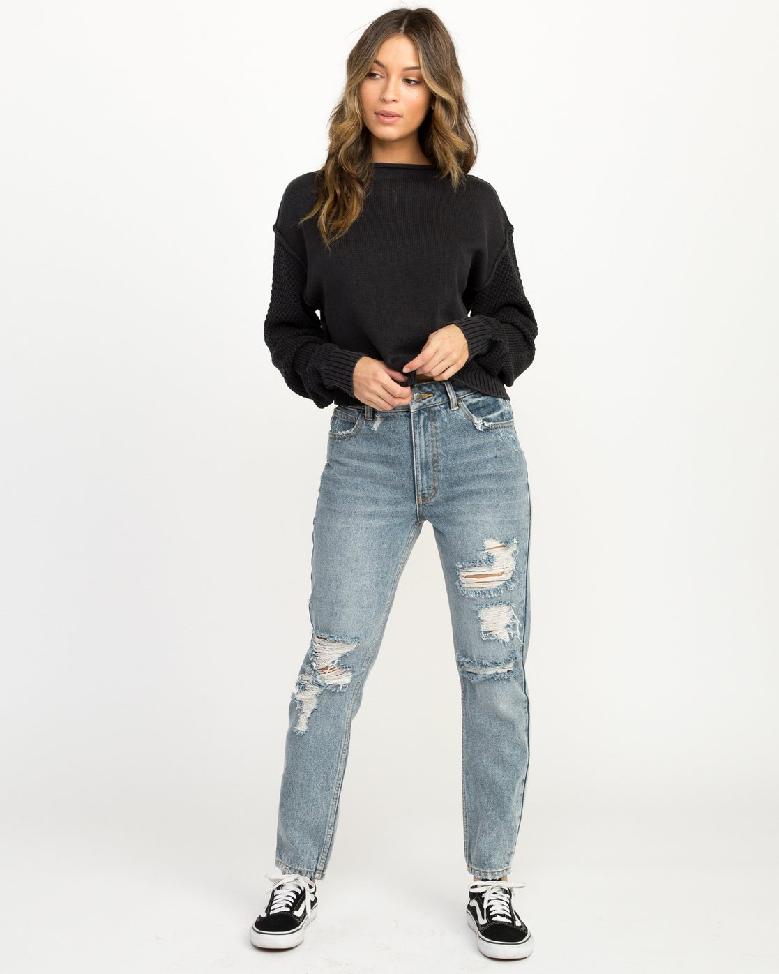 4 Exposed High Neck Sweater Black WV05QREX RVCA