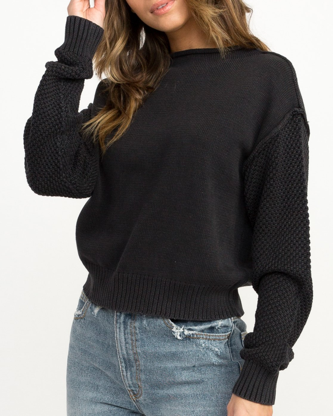 3 Exposed High Neck Sweater Black WV05QREX RVCA