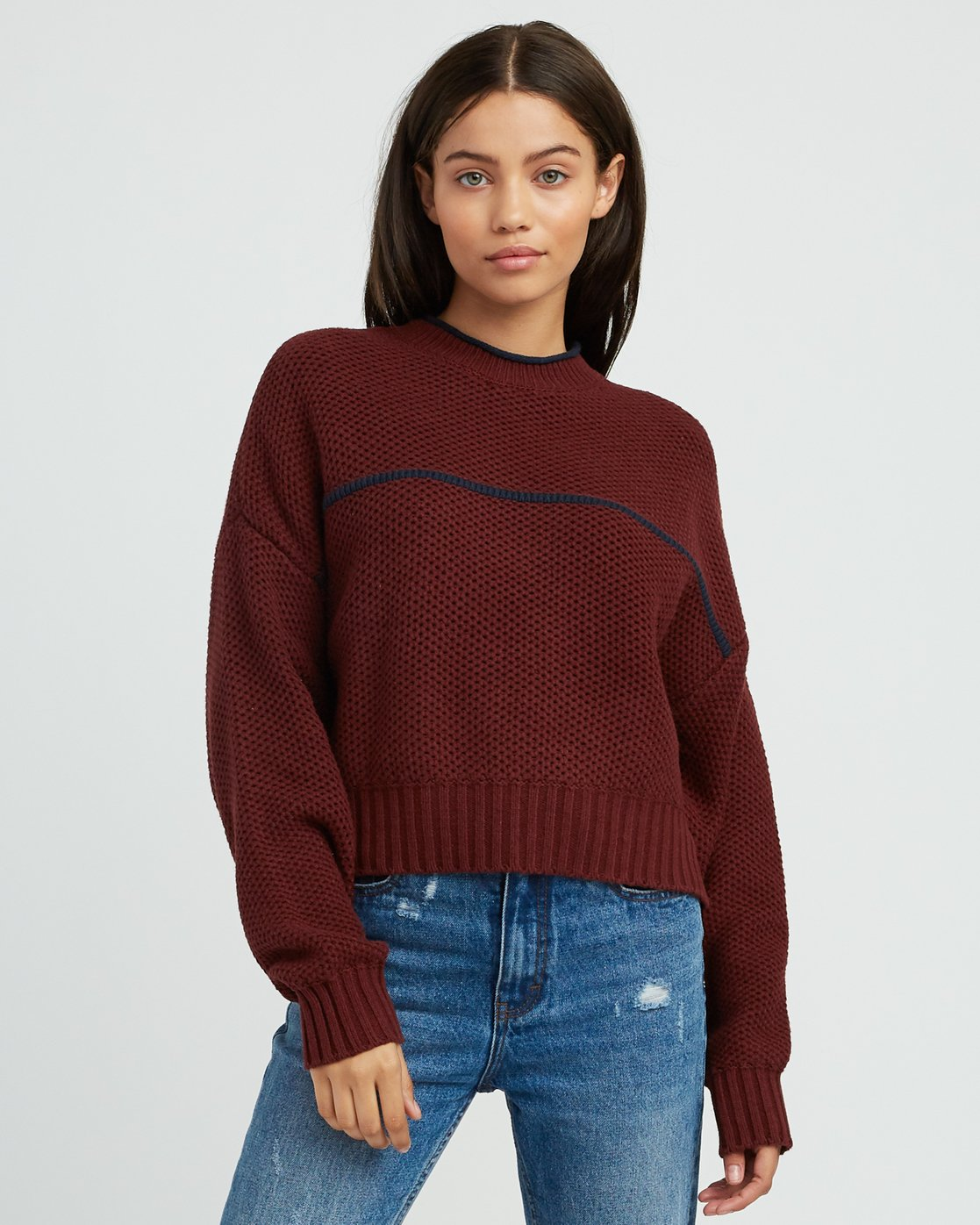 0 Jammer Cropped Knit Sweater Pink WV05SRJA RVCA