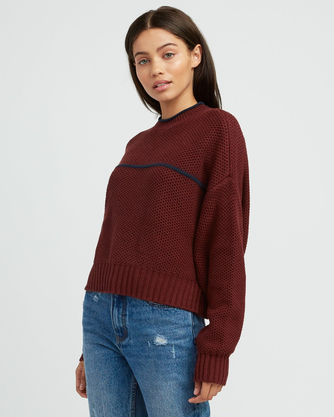 1 Jammer Cropped Knit Sweater Pink WV05SRJA RVCA