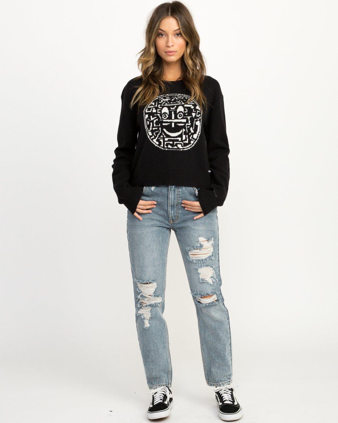 3 Joe Grillo Smiles Sweater Black WV07QRSM RVCA