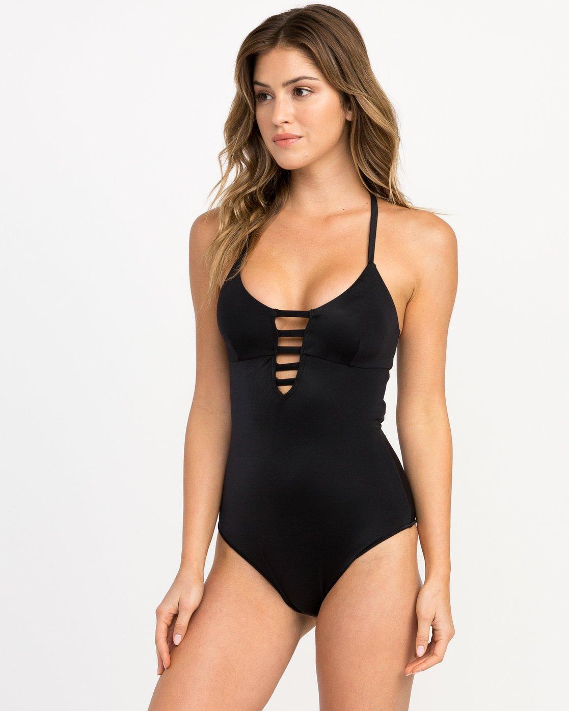 1 Solid Strappy One Piece Swimsuit Black X101PRSO RVCA