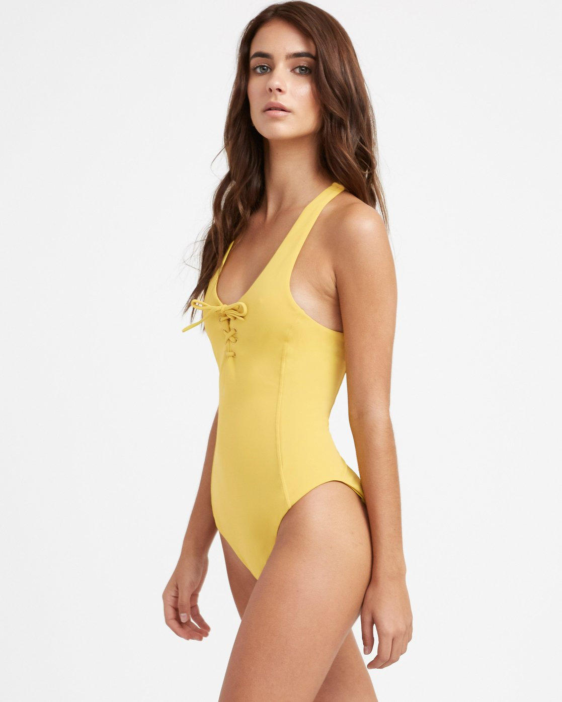 1 Solid Lace Front One Piece Swimsuit Yellow X101TRSO RVCA