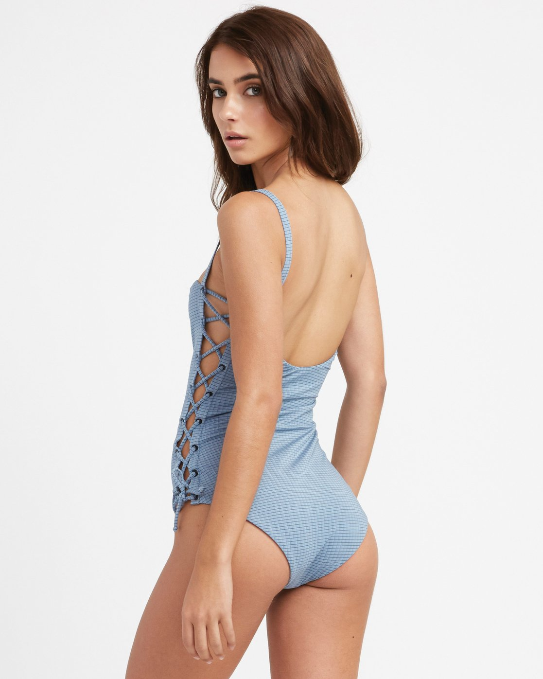 2 Beau Grid Lace-Up One Piece Swimsuit Blue X105TRBO RVCA