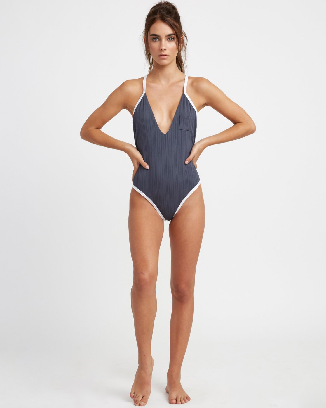 5 Linear Ribbed One Piece Swimsuit Grey X106TRLO RVCA