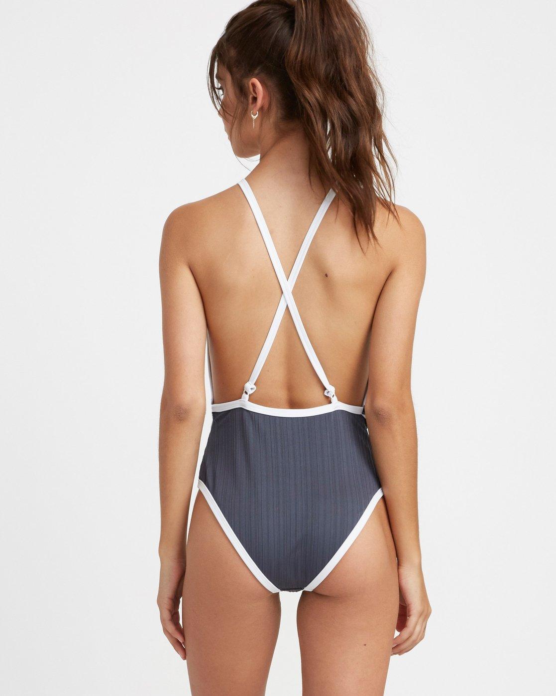 3 Linear Ribbed One Piece Swimsuit Grey X106TRLO RVCA