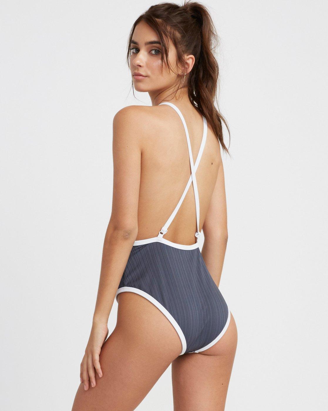 2 Linear Ribbed One Piece Swimsuit Grey X106TRLO RVCA
