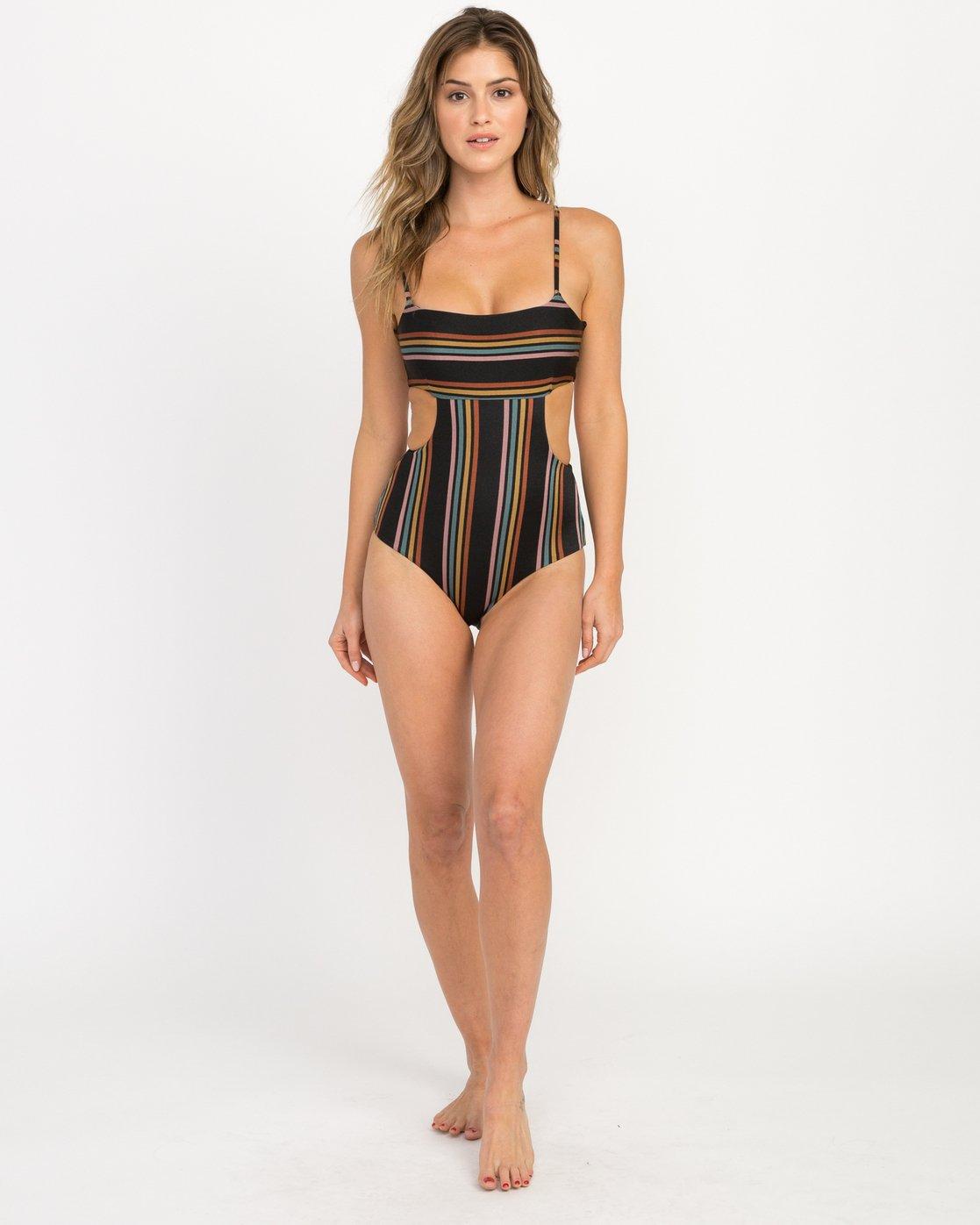 4 Side Line Striped One Piece Swimsuit Black X107QRSO RVCA