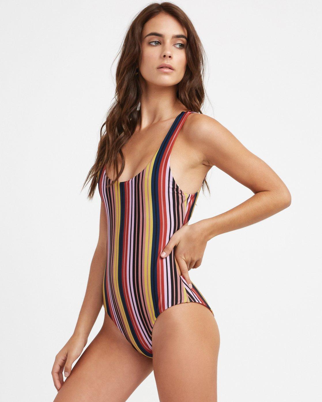 3 Talum Striped One Piece Swimsuit Red X107TRTO RVCA