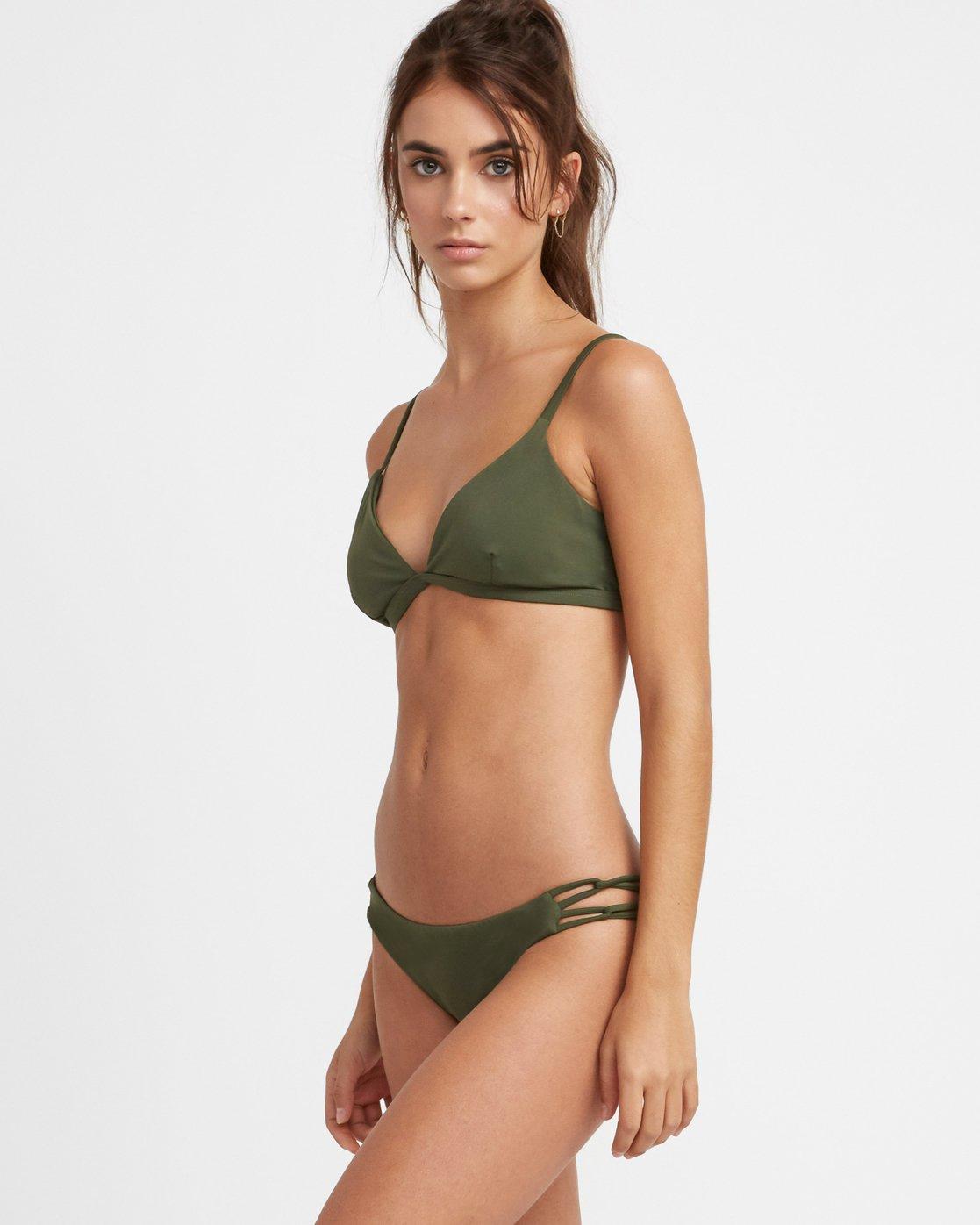 1 Solid Medium Side Loop Bikini Bottoms Green XB03TRSM RVCA