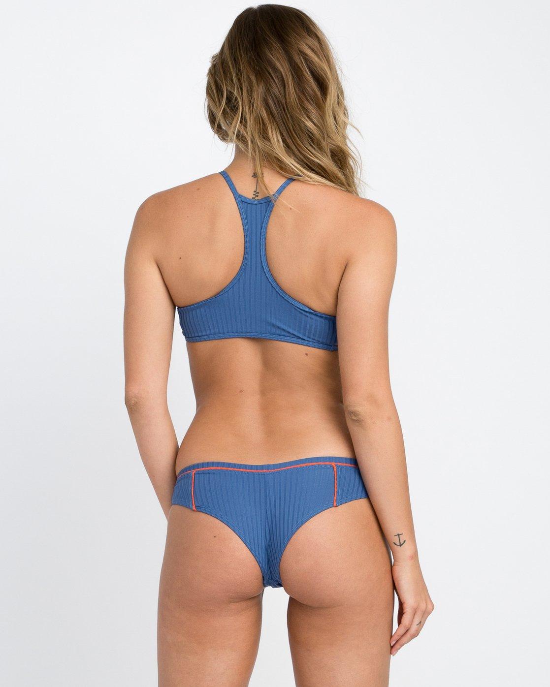 0 July Ribbed Cheeky Bikini Bottom Blue XB14PRJC RVCA