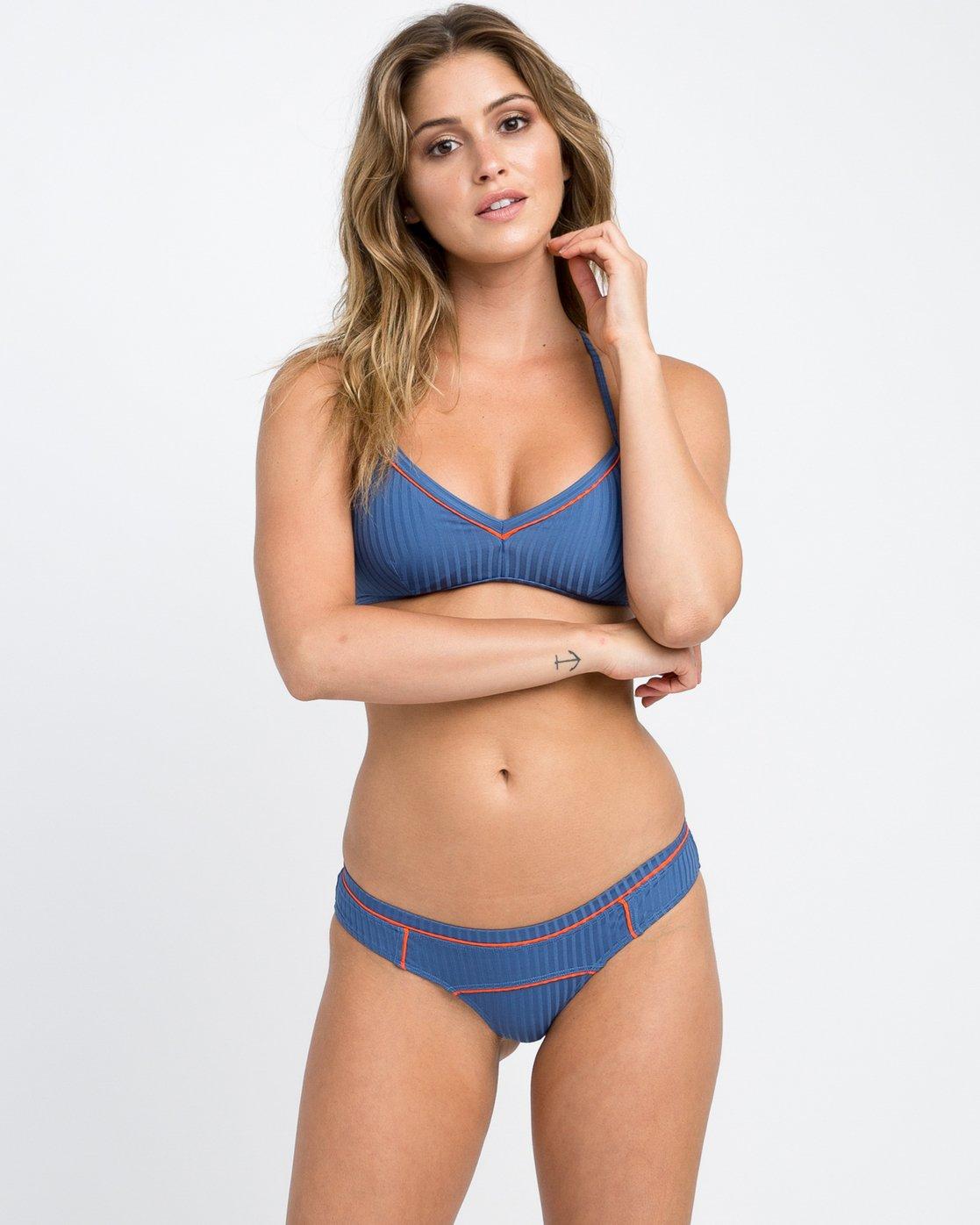 2 July Ribbed Cheeky Bikini Bottom Blue XB14PRJC RVCA