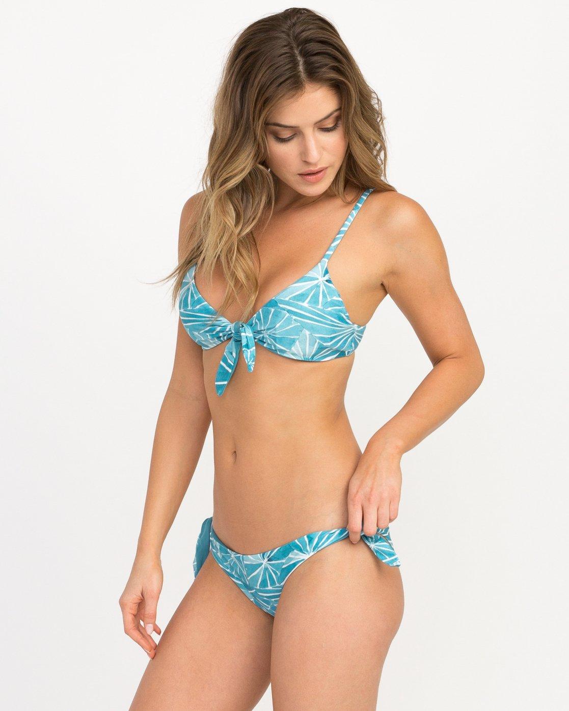 1 Michelle Blade Painted Cheeky Reversible Bikini Bottom Blue XB19QRPC RVCA