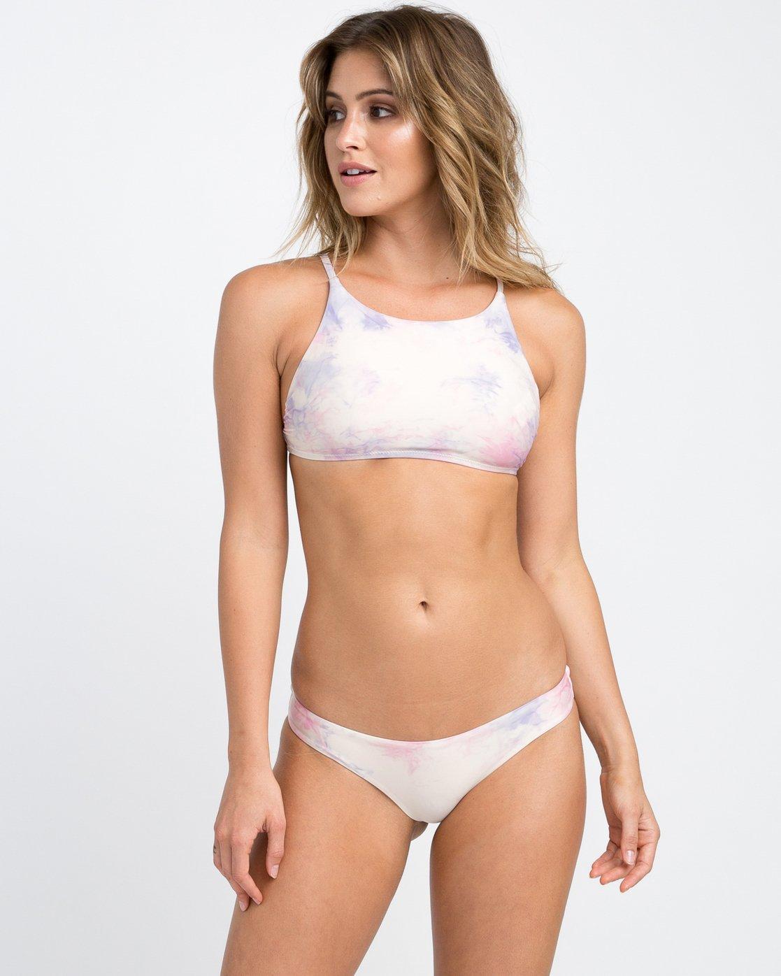 2 Crystal Tie Dye Cheeky Bikini Bottom White XB26PRCC RVCA