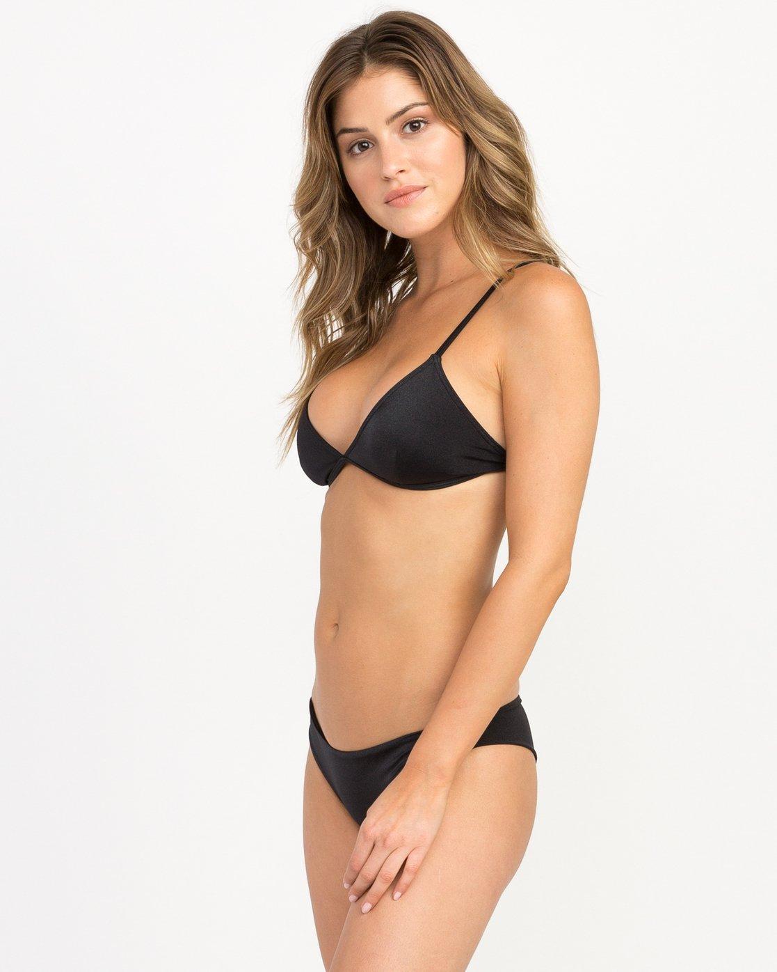 1 Solid Shimmer Triangle Bikini Top Black XT01QRST RVCA