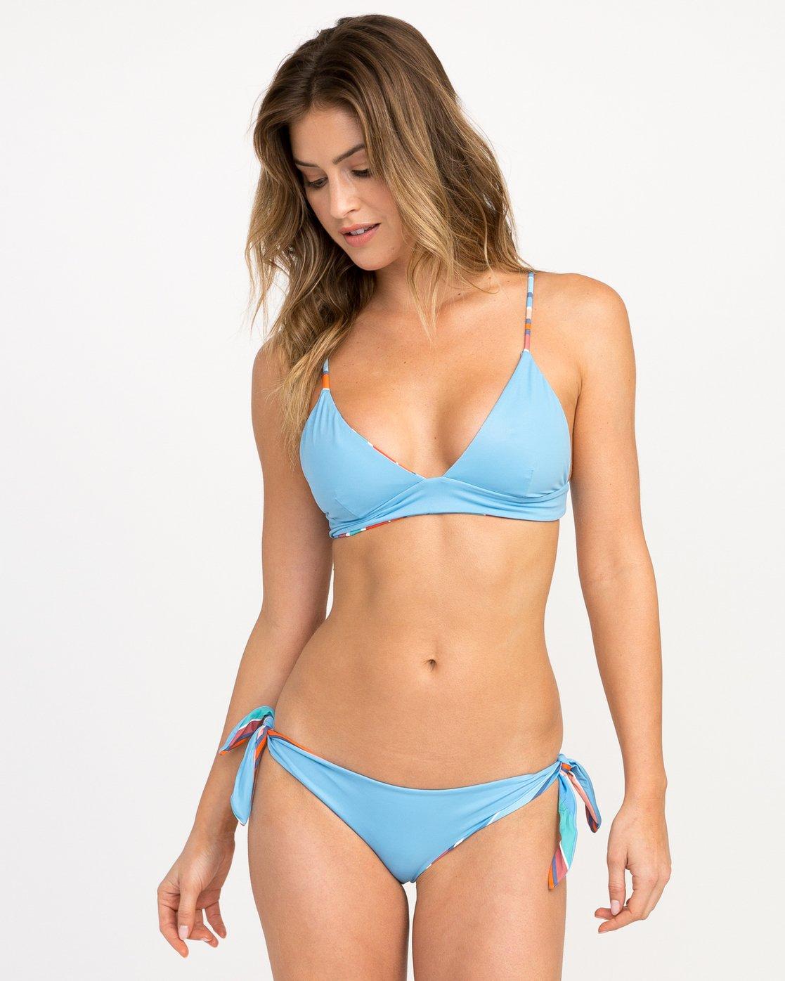 1 Horizon Reversible Stripe Triangle Bikini Top Blue XT05PRRT RVCA