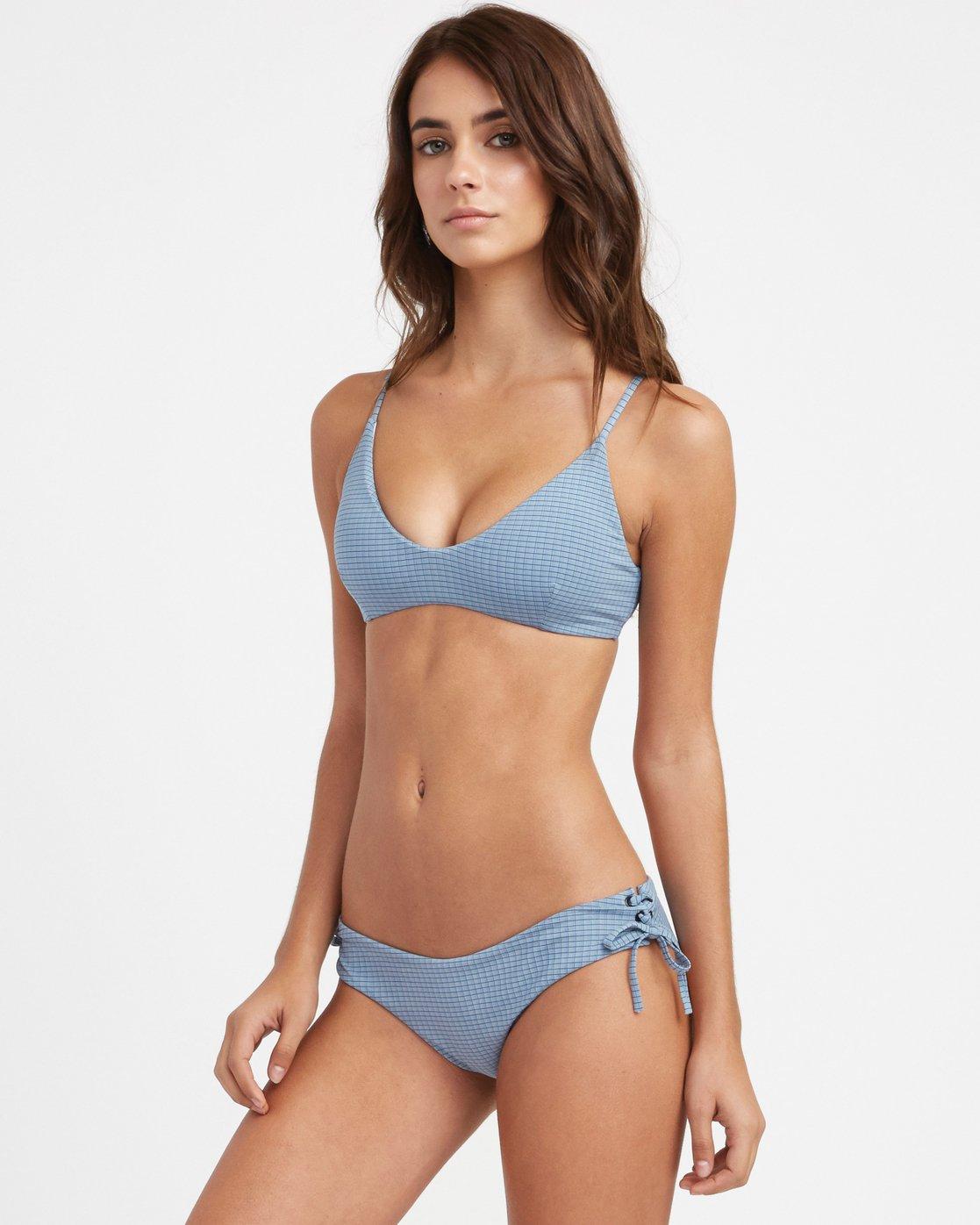 1 Beau Grid Bralette Bikini Top Blue XT14TRBT RVCA