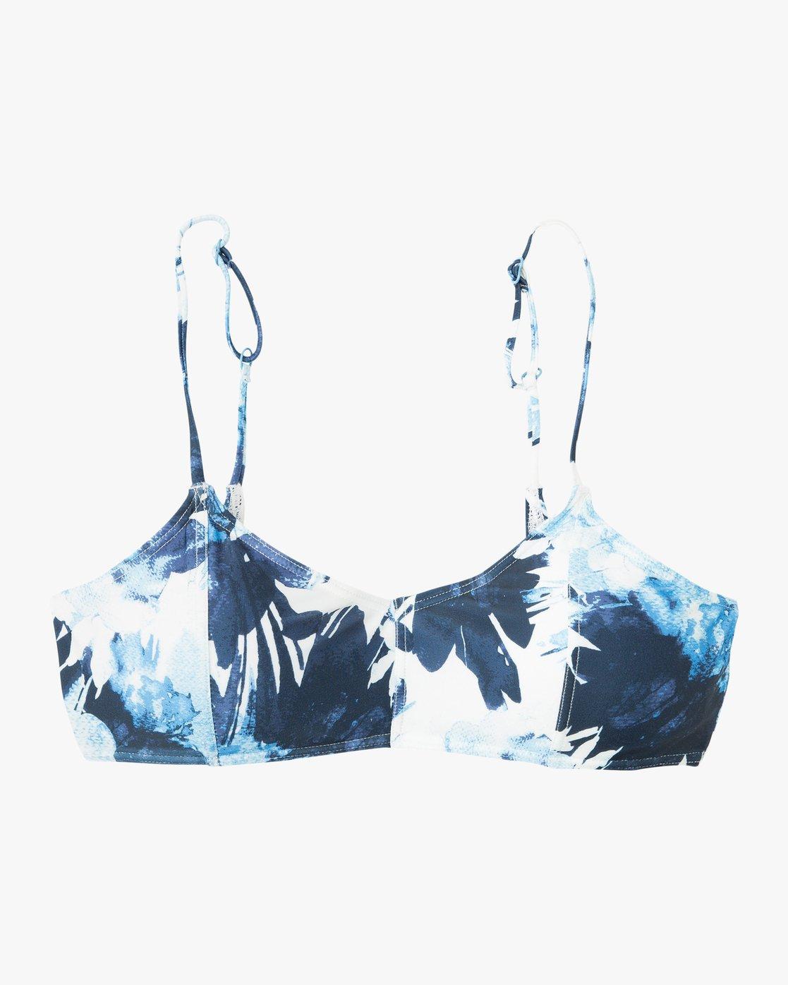 5 Paint Flower Bralette Bikini Top Blue XT18PRPB RVCA
