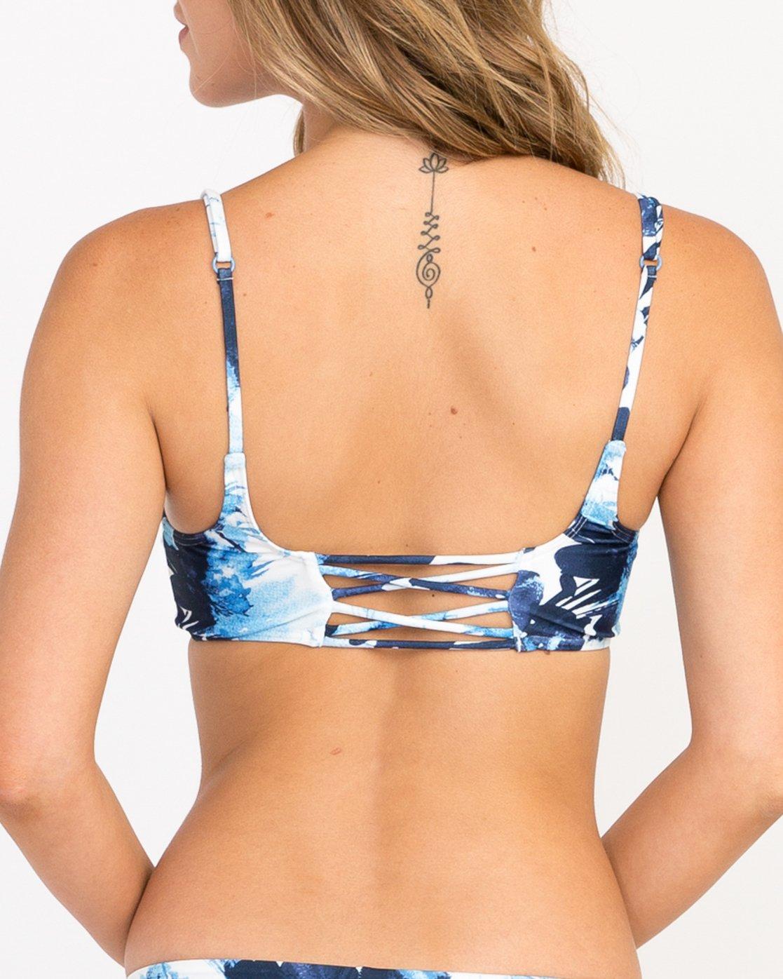 4faea9990a 3 Paint Flower Bralette Bikini Top Blue XT18PRPB RVCA