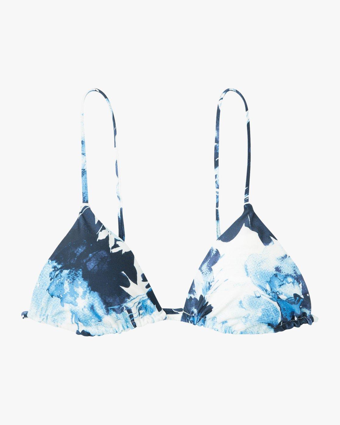 5 Paint Flower Triangle Bikini Top Blue XT19PRPT RVCA