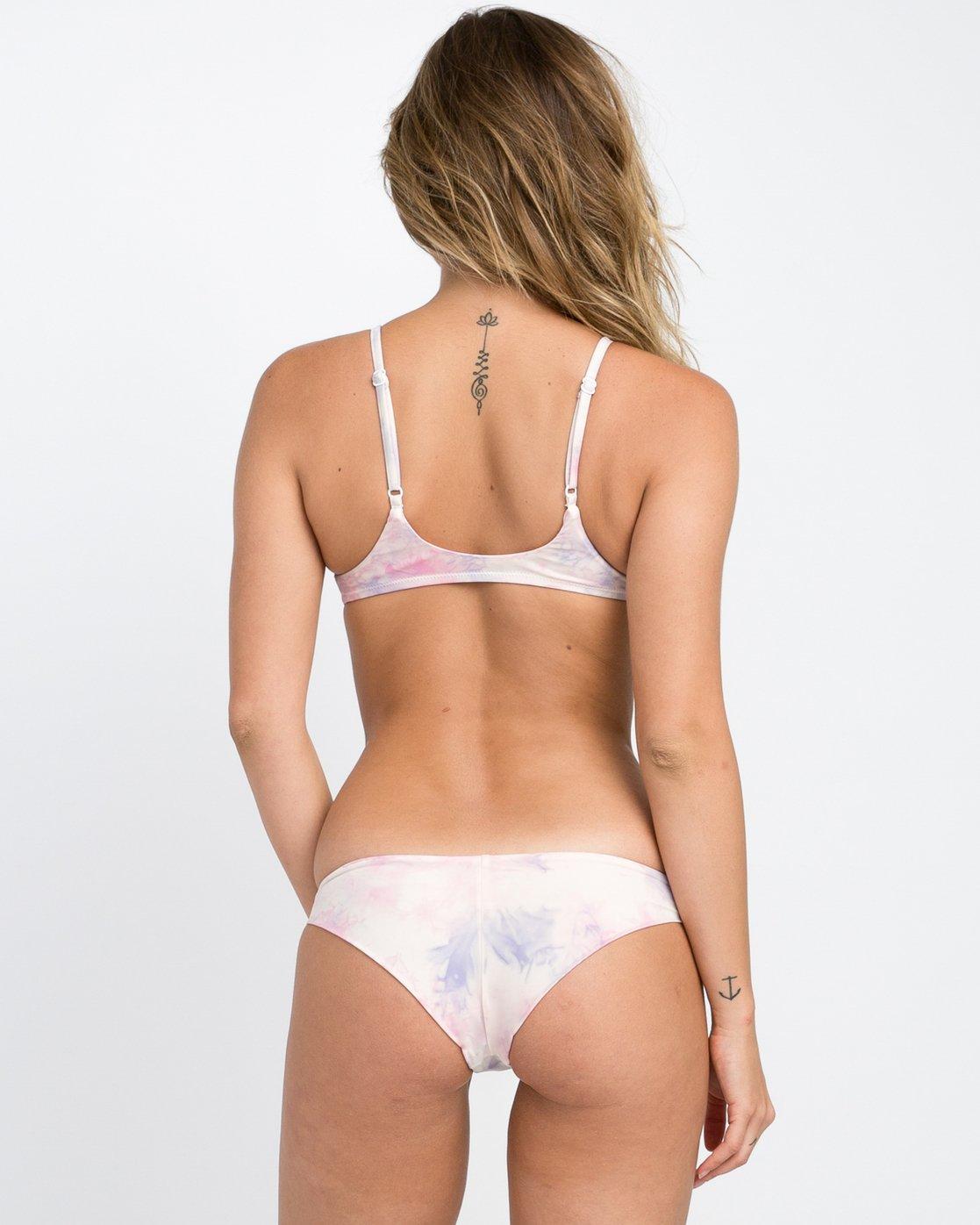 2 Crystal Tie Dye Bikini Crop Top White XT23PRCP RVCA