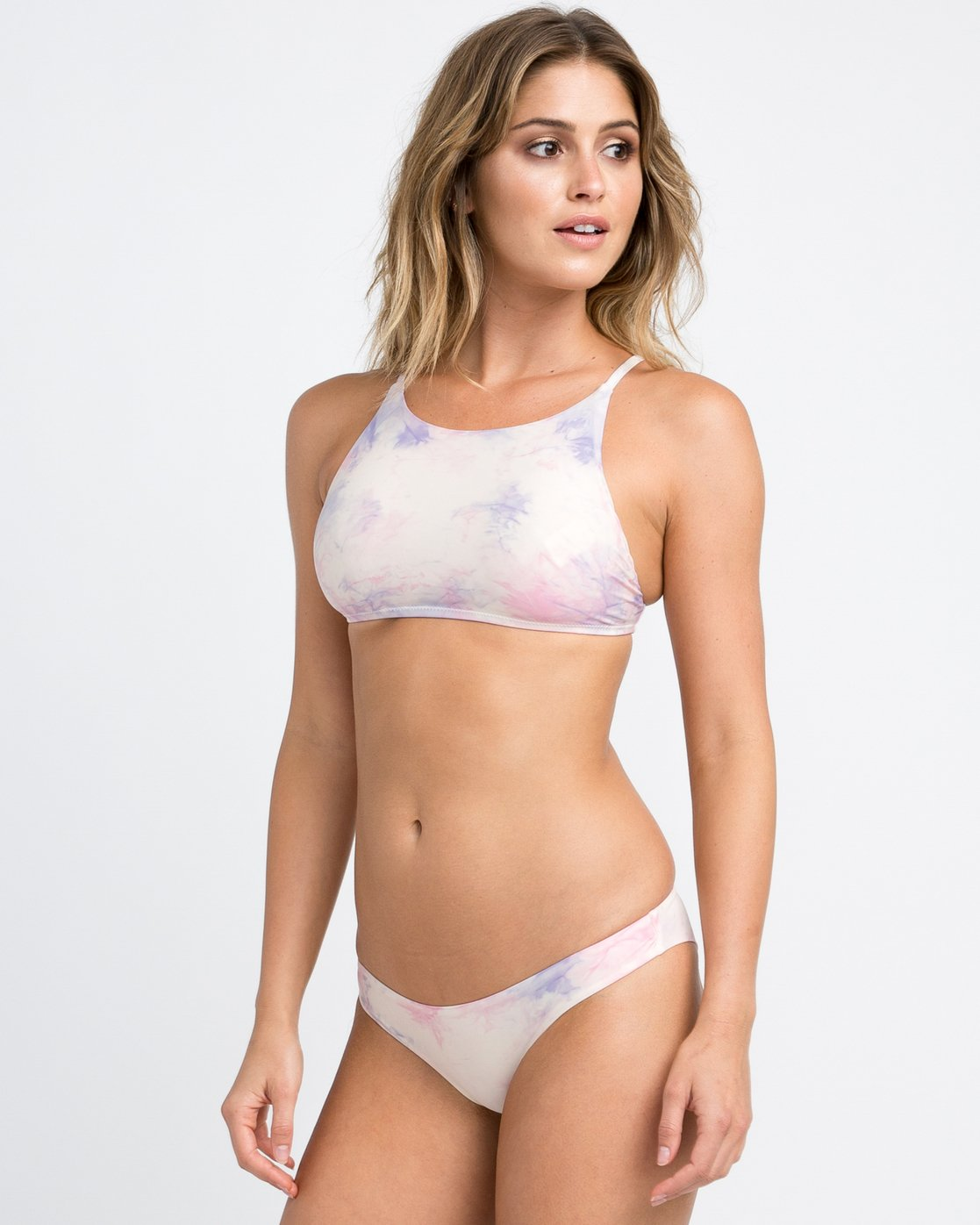 1 Crystal Tie Dye Bikini Crop Top White XT23PRCP RVCA