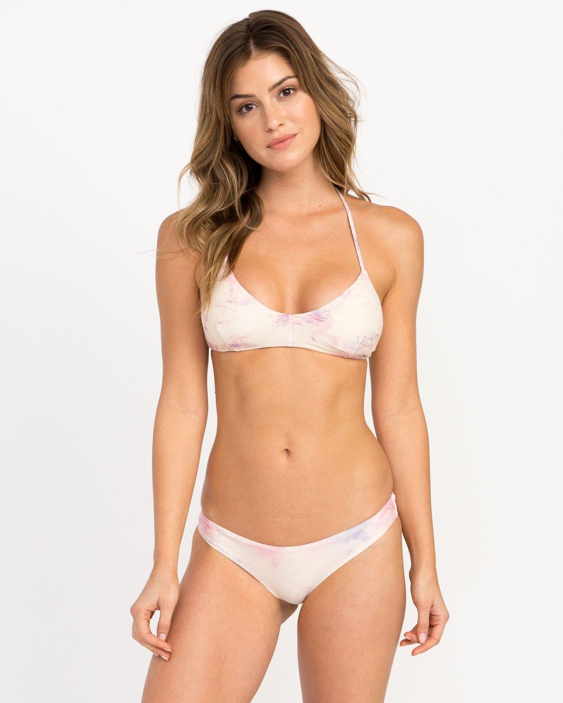 823cfb5480f7e 0 Crystal Tie Dye Crossback Bikini Top White XT32PRCC RVCA