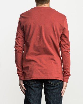 2 Boy's Big RVCA Long Sleeve T-Shirt Red B451SRBI RVCA