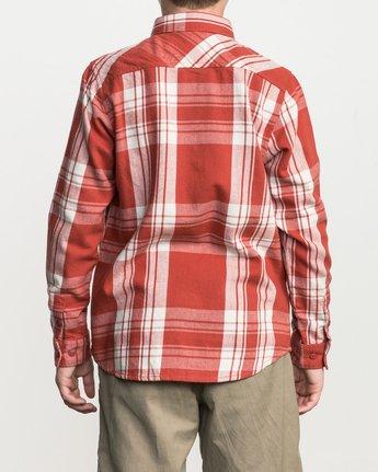 3 Boy's Wanted Plaid Flannel Red B551SRWA RVCA